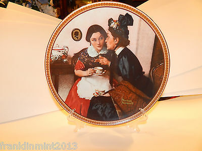"""Norman Rockwell """"GOSSIPING IN THE ALCOVE"""" Collector Plate Ltd Edition #12016E"""