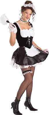French Maid Upstairs Chamber Satin Fancy Dress Up Halloween Sexy Adult Costume  sc 1 st  PicClick & FRENCH MAID UPSTAIRS Chamber Satin Fancy Dress Up Halloween Sexy ...