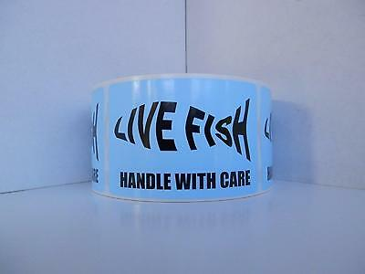 LIVE FISH silhouette HANDLE WITH CARE Sticker Label light blue bkgd 250/rl