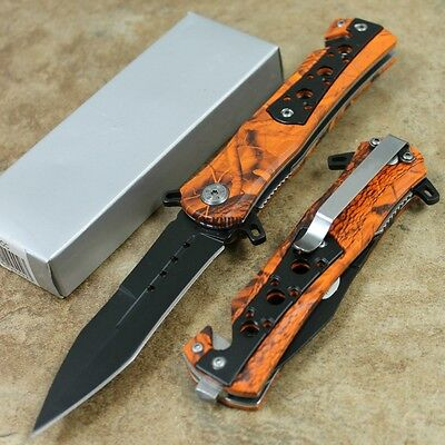"8"" Tactical Orange Camo Assisted Open Rescue Pocket Knife NEW SE-949OC zix"