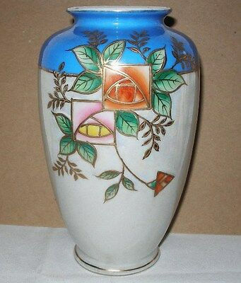 SIGNED Porcelain LUSTERWARE Art Deco SECESSIONIST Japanese VASE Early 1920s HP