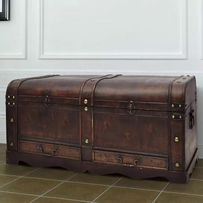 B#vintage Large Woodedn Treasure Chest Travel Chunk Coffee Table
