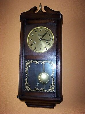 Centurion 20 Day Wood & Glass Wall Clock with Pendulum - Works
