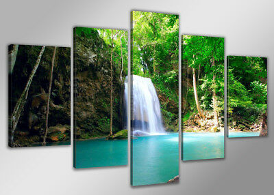 Pictures XXL waterfall 5520 Canvas picture framed 5 pts Brand Visario 63x31''TOP
