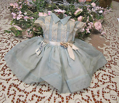 """VTG Ideal Shirley Temple Orig. Tagged Blue Nylon Party Dress For 17"""" ST-17 Doll"""
