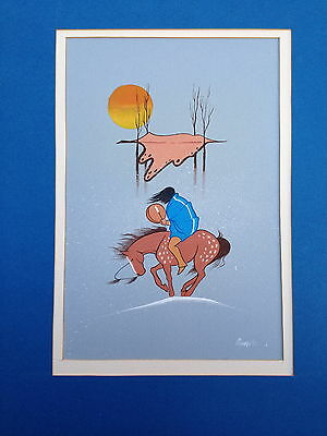 """Robby McMurtry Comanche """"DEATH SONG"""" ORIGINAL Painting SIGNED/DATED 1973"""