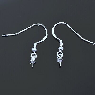 925 Sterling Silver French Wires Earring Hooks With Bead Cap Jewellery Findings