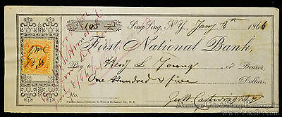 Obsolete Bank Check First National Bank Sing Sing NY Prison? 1866 Civil War.