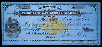 Obsolete Bank Check State Illinois Peoples National Bank Rock Island 1883 Blue.