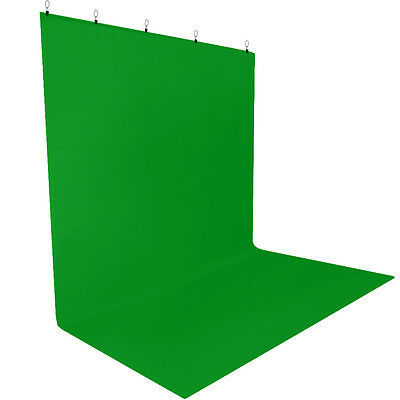 Lusana Photo Studio Background Green 5 x 10ft. Muslin Backdrop with Holders Kit