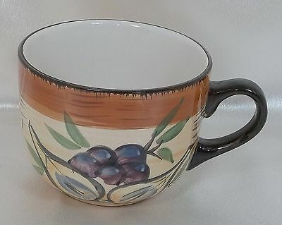 Large Hand Painted Tuscan Style Soup Coffee Mug Cup Olives & Garlic - Casino