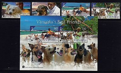 Vanuatu Best Friends (Dogs) Set 4 + M/S MNH