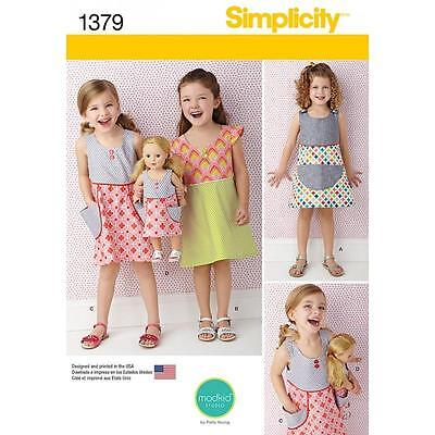 """Simplicity Sewing Pattern Child's Dress & Dress For 18"""" Doll Sizes 3 - 8  1379"""