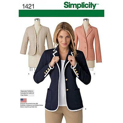 Simplicity Sewing Pattern Sale Misses' Unlined Jacket  Sizes  8 - 24 1421