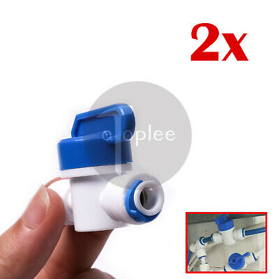 "2x 1/4"" Ball Valve Inline Tap Quick Connect Push for RO Water Reverse Osmosis"