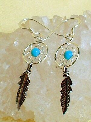 New Dainty 925 Silver Turquoise Bead Dreamcatcher Earrings~Native American~Pagan