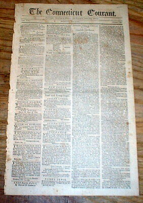 1795 Hartford Courant newspaper w ad CONNECTICUT SOCIETY of the CINCINNATI meets