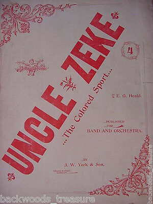 1896 Uncle Zeke The Colored Sport Antique Sheet Music Negro Black Americana