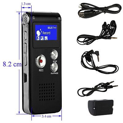 Rechargeable Portabale 8GB Steel Digital Sound Recorder Dictaphone MP3 Player