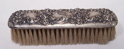 VICTORIAN REPOUSSE SILVER PLATE FLOWERS HAIR BRUSH