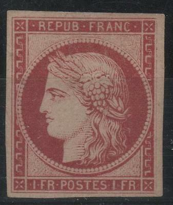 """FRANCE STAMP TIMBRE N° 6 """" CERES 1F CARMIN 1849 """" NEUF x TB RARE  SIGNE K534"""