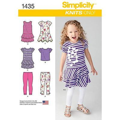 Simplicity Sewing Pattern Child's Knit Dresses Top & Capri Leggings 3 - 8 1435
