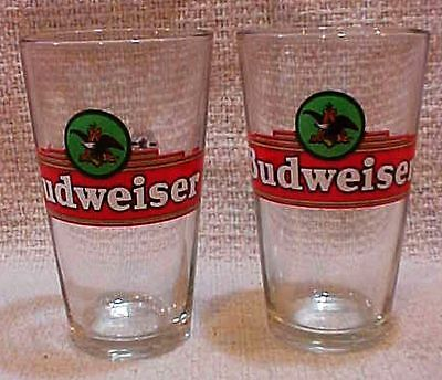 Pair Anheuser Busch Budweiser Old Heavy Clear 12 oz Bar Beer Glasses FREE S/H