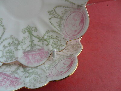 Foley Wileman (Pre-Shelley) Pink/Green Cameo - 2 x Saucers (No Cups)