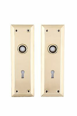 Keyed brass  NY Back Plates solid brass for glass or brass doorknobs
