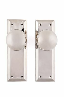 NY doorknob and back plate passage set solid brass polished nickel