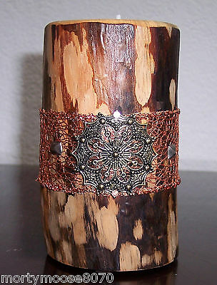 "Blue Stained Beetle Kill Pine Handmade Hand Crafted Candle & Holder  5"" Tall"