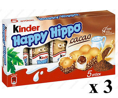 3x Kinder Chocolate Happy Hippo 3x 5 piece box - 20g each