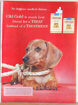 Vintage 1944 magazine ad for Old Gold cigarettes - Dachshund pup with giant rope