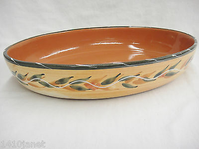 Furio Italian Pottery 10x14 Oval Baker Serving Dish Terra Cotta Gold and Green