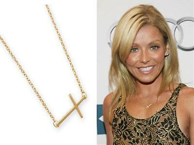 """""""Get The Look"""" Stunning Gold Sideways Cross 17""""+ 2"""" Pendant Necklace"""