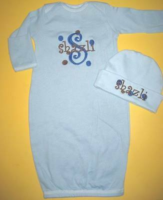 Personalized Baby Boy or Girl SLEEPER Gown T Shirt Hat Outfit Gift SET SHOWER