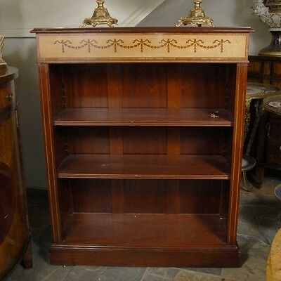 English Regency Sheraton Inlay Open Bookcase
