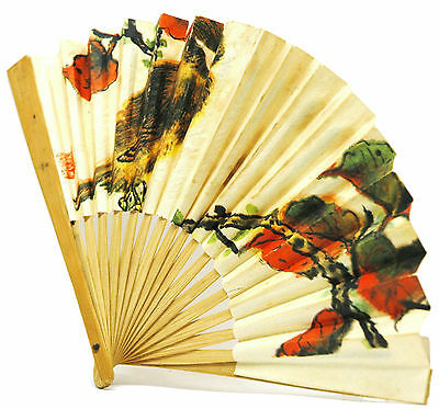 Antique CHINESE PAPER FAN Hand-Painted BIRD-FLORAL Signed!! ASIAN BAMBOO Folding