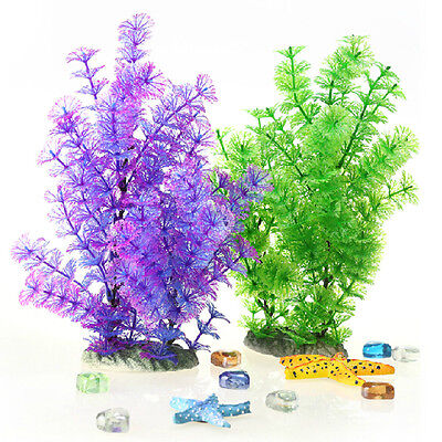 2 PCS Wonder Grass Plastic Aquarium Plants Ornament Decor for Fish Tank