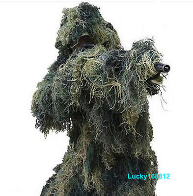 3D Ghillie Suit Camo Woodland Camouflage Forest Hunting Disguise 4-Piece + Bag