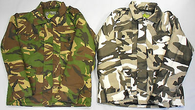 Boys Childrens Camo Camouflage Army Safari Style Jacket Coat Green Warm
