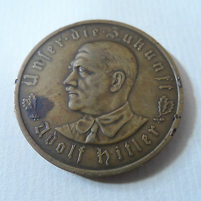 VERY RARE GENUINE EARLY ADOLF HITLER GERMAN BRONZE 1933 COIN / MEDAL GERMANY
