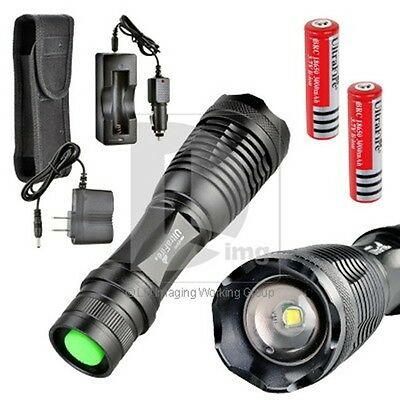 2000LM CREE XM-L T6 LED Flashlight Torch 5-Mode+2X18650 Battery+CAR  charge