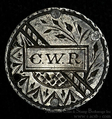 Love Token Engraved CWR on 1854 Liberty Seated Dime Silver W/ Countermark.