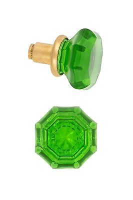 antique reprooduction Green octagonal glass doorknobs 390425