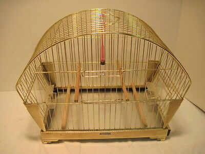 OLD VINTAGE HENDRYX BIRD CAGE WITH 2  FEEDERS SWING BELL