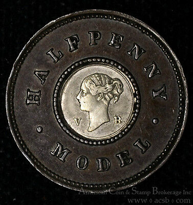 Great Britain 1/2d Penny (1844)ND EF/AU silver X#7 Model Half Penny.