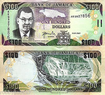 JAMAICA 100 Dollars Banknote World Money Currency BILL p84c 2007 Caribbean Note
