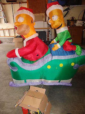 2005 Airblown Homer Bart Simpson Christmas Gemmy Inflatable Yard Blow Up IOB