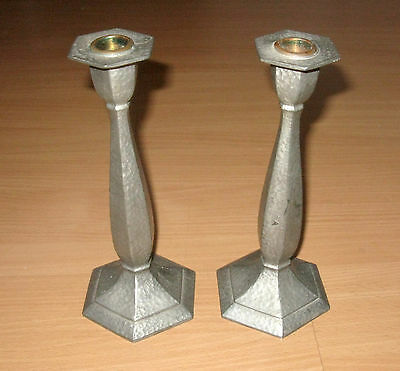 Vintage Pair Hammered Candlesticks Colonial Pewter By Boardman Copper Inserts